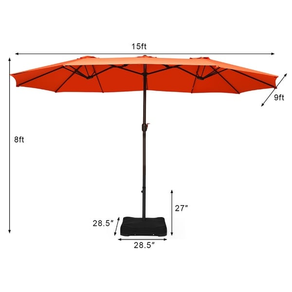 15 Ft Outdoor Double-Sided Patio Market Umbrella with Base