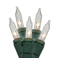 Set of 100 Clear Mini Christmas Lights - Green Wire