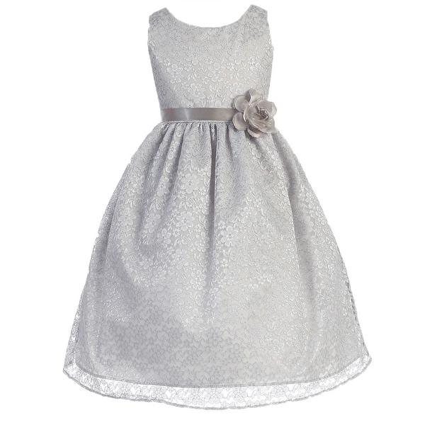 Shop floral pattern lace flower girl dress silver ca 749 free floral pattern lace flower girl dress silver ca 749 mightylinksfo