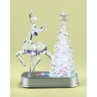 "7.25"" Icy Crystal LED Lighted Reindeer and Christmas Tree Table Top Figure"