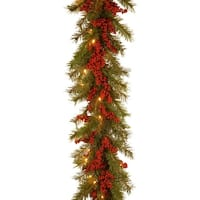 9 ft. Decorative Collection Valley Pine Garland with Battery Operated Warm White LED Lights - green