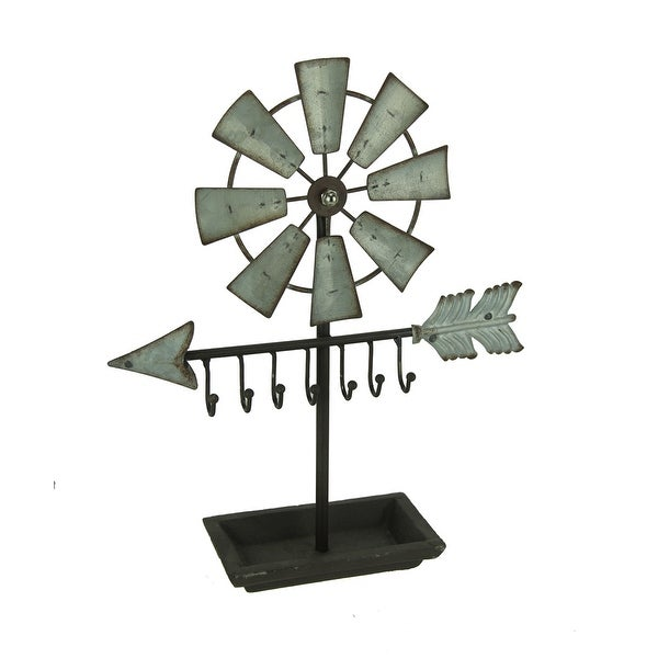 Rustic Metal Windmill and Arrow Sculpture with Key Hooks - 13 X 10.75 X 3 inches