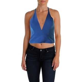 Bardot Womens Crop Top Deep V-Neck Sleeveless