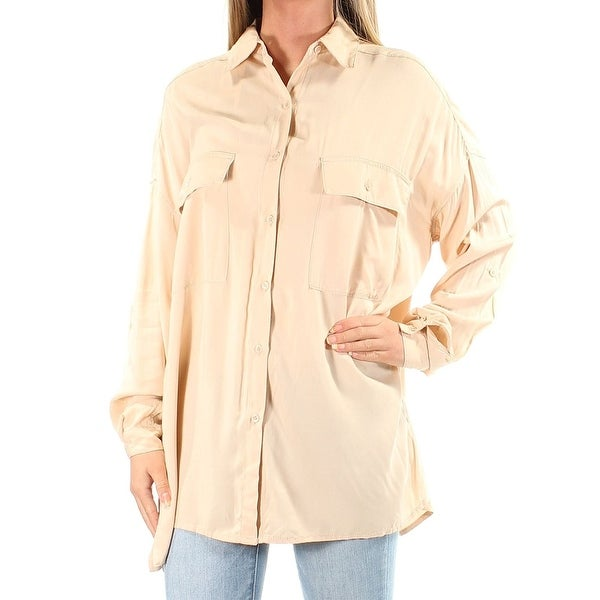 6277ac4fe5c Shop Max Studio London Roll-Tab Sleeve Utility Shirt Blouse Blush - Free  Shipping On Orders Over  45 - Overstock - 20178384