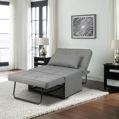 Porch & Den Wilkens Light Grey Reclining Convertible Chair/Ottoman