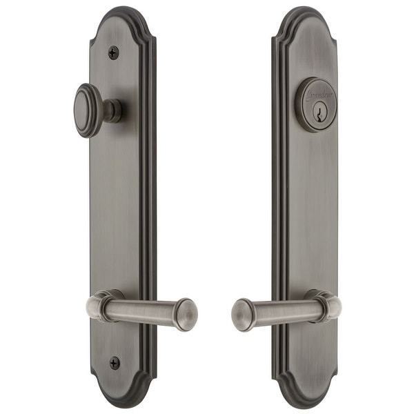 """Grandeur ARCGEO_TP_ESET_234_RH Arc Solid Brass Tall Plate Single Cylinder Keyed Entry Set with Georgetown Lever and 2-3/4"""""""