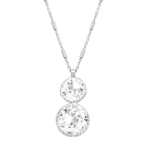 Crystaluxe Double Drop Pendant with Swarovski Elements Crystals in Sterling Silver - White