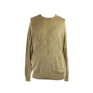 Perry Ellis Beige Diamond-Knit Crew-Neck Sweater XXL