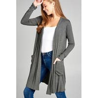 Ladies fashion long sleeve open front w/pocket long length rayon spandex cardigan - Size - XL