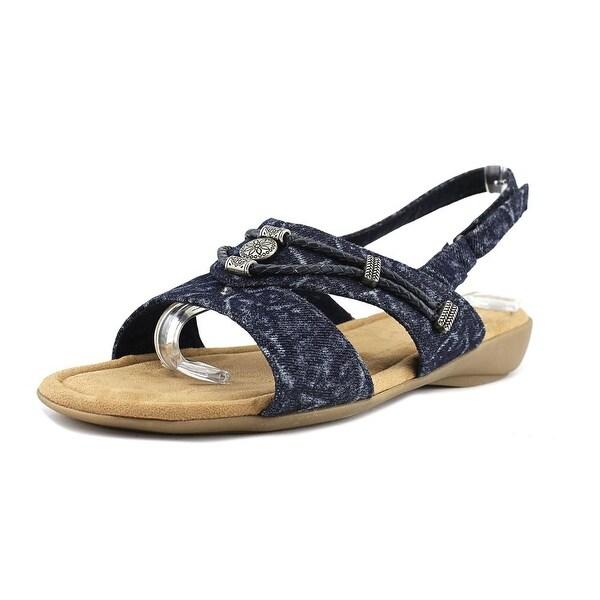 Minnetonka Silvie Women WW Open-Toe Canvas Blue Slingback Sandal