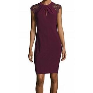 Betsy & Adam NEW Purple Lace Contrast Women's Size 2 Sheath Dress