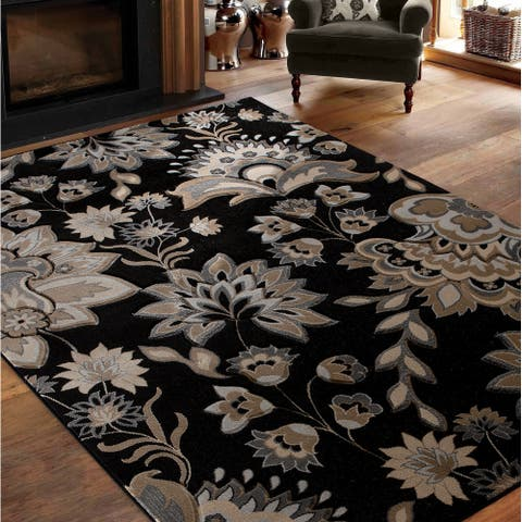 Glamour Collection Floral Area Rug