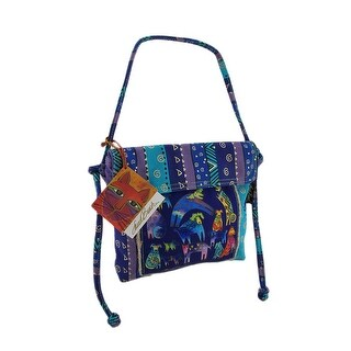 Laurel Burch Talking Horses Drawstring Cross Body Bag - Purple