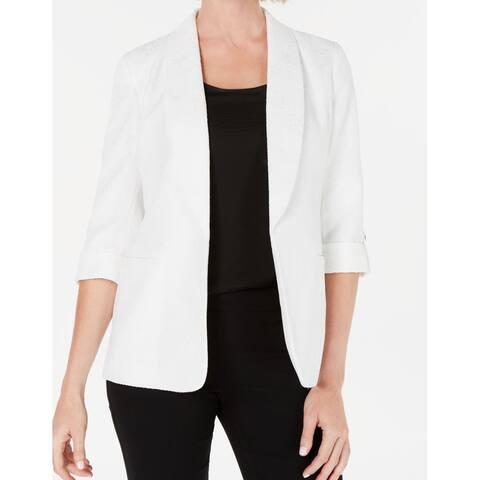 Kasper Womens Blazer White Small S Shawl Collar Roll-Tab Embroidered