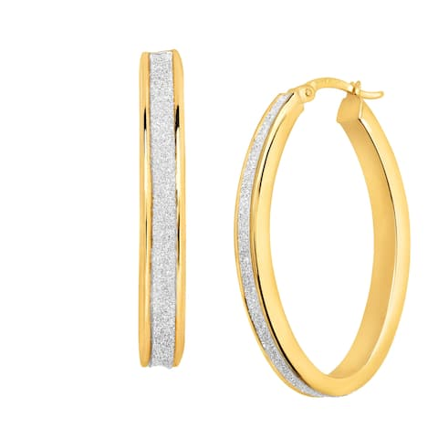 Glitter Oval Hoop Earrings in 14K Gold-Bonded Sterling Silver - Two-Tone