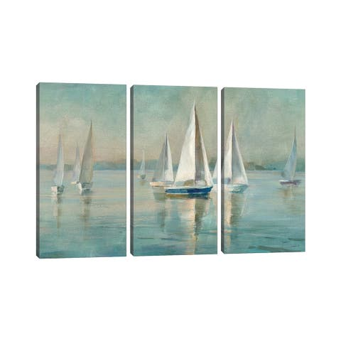 """iCanvas """"Sailboats at Sunrise"""" by Danhui Nai 3-Piece Canvas Wall Art Set"""