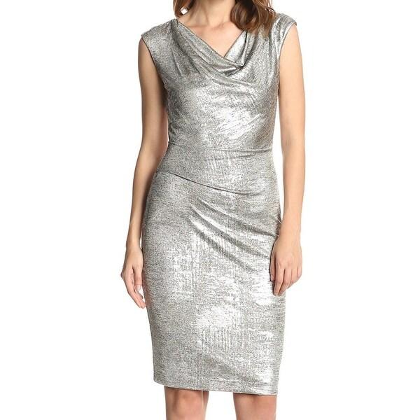 Vince Camuto NEW Silver Draped Neck Women's Size 14 Sheath Dress