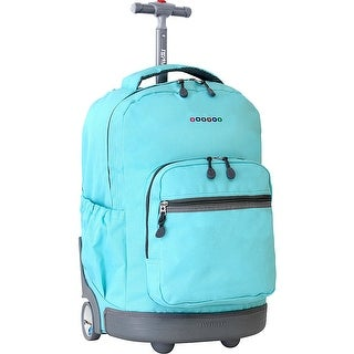J World New York Sunrise 18 Inch Rolling Backpack, Seafoam