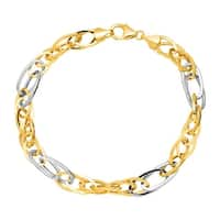 Eternity Gold Oval Link Bracelet in 14K Yellow & White Gold - Two-tone