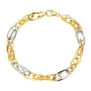 Just Gold Two-Tone Oval Link Bracelet in 14K Yellow & White Gold