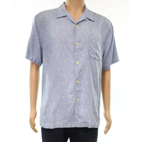 Tommy Bahama Blue Mens Size Large L Button Down Silk Shirt
