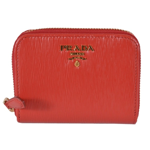 2ece9925effb53 Prada 1MM268 2EZZ Lacca Red Saffiano Leather Zip Around Coin Purse Wallet -  4.13