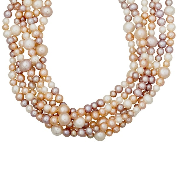 4-10 mm Multi-Strand Blush Freshwater Pearl Necklace in Sterling Silver - multi-color