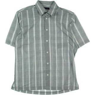 John Ashford Mens Microfiber Grid Plaid Button-Down Shirt - S