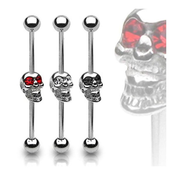 Surgical Steel Barbell with Skull with Gemmed Eyes - 14 GA (Sold Ind.)