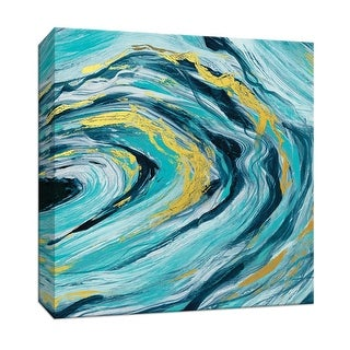 "PTM Images 9-147636  PTM Canvas Collection 12"" x 12"" - ""Teal Agate Gold Accent II"" Giclee Abstract Art Print on Canvas"
