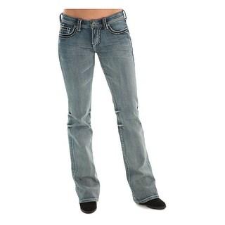 Cowgirl Tuff Western Denim Jeans Womens Black Diamond Med JBADIA