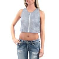 RACHEL ROY Womens Light Blue Zippered Striped Sleeveless Jewel Neck Crop Top  Size: Size 0