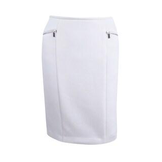 Calvin Klein Women's Petite Zip Detail Scuba Skirt (4P, Cream) - CREAM