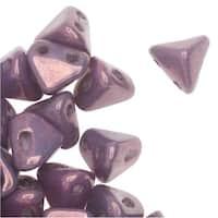 Czech Glass Super Kheops par Puca, 2-Hole Pyramid Beads 6mm, 9 Grams, Opaque Amethyst / Gold Ceramic