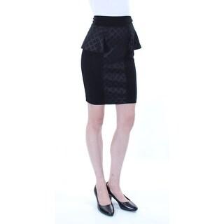 ERIC + LANI $39 Womens New 1134 Black Geometric Ruffled Pencil Skirt 2XS B+B
