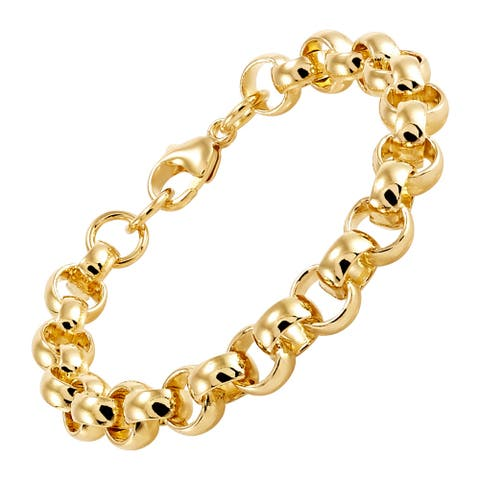 """Italian-Made 9 mm Polished Rolo Link Chain Bracelet in 18K Gold-Plated Bronze, 7.75"""" - Yellow"""