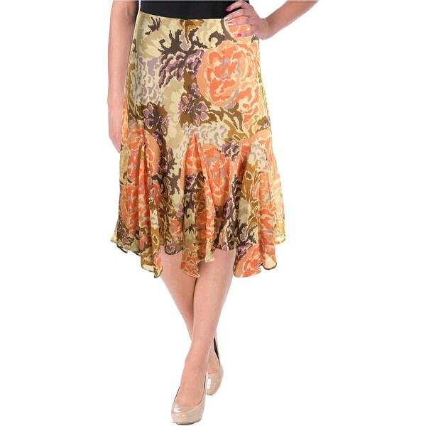 Lauren Ralph Lauren Womens Flounce Skirt Floral Print Pull On