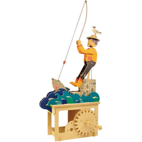 What on Earth Wooden Mechanical Fisherman Puzzle Construction Kit - Crank Operated - 9.25 in. x 4.33 in. x 13 in.