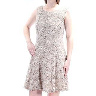 Womens Beige Floral Sleeveless Above The Knee A-Line Formal Dress Size: 10