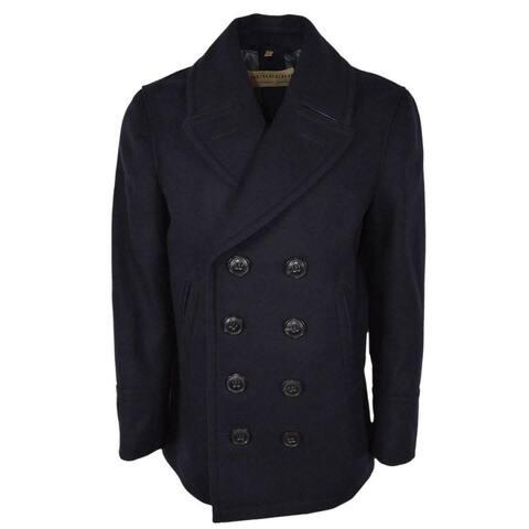 Burberry Men's Kirkham Navy Blue Wool Cashmere Pea Coat Jacket