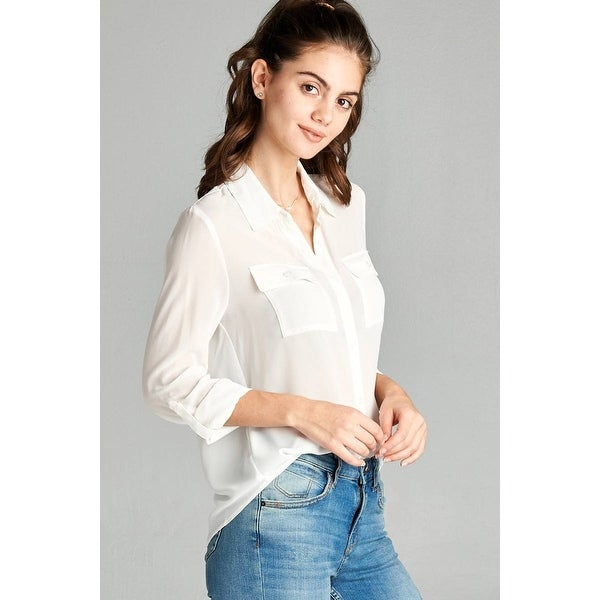 c95c1fad97047 Shop Ladies Fashion Long Sleeve Front Pocket Chiffon Blouse W  Back Button  Detail - Size - S - Free Shipping On Orders Over  45 - Overstock - 23164085