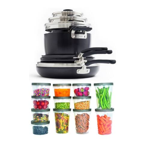 GreenPan Levels Essentials 13-Piece Cookware Set w/ Containers Bundle