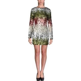 Elizabeth and James Womens Mini Dress Sequined Silk Trim