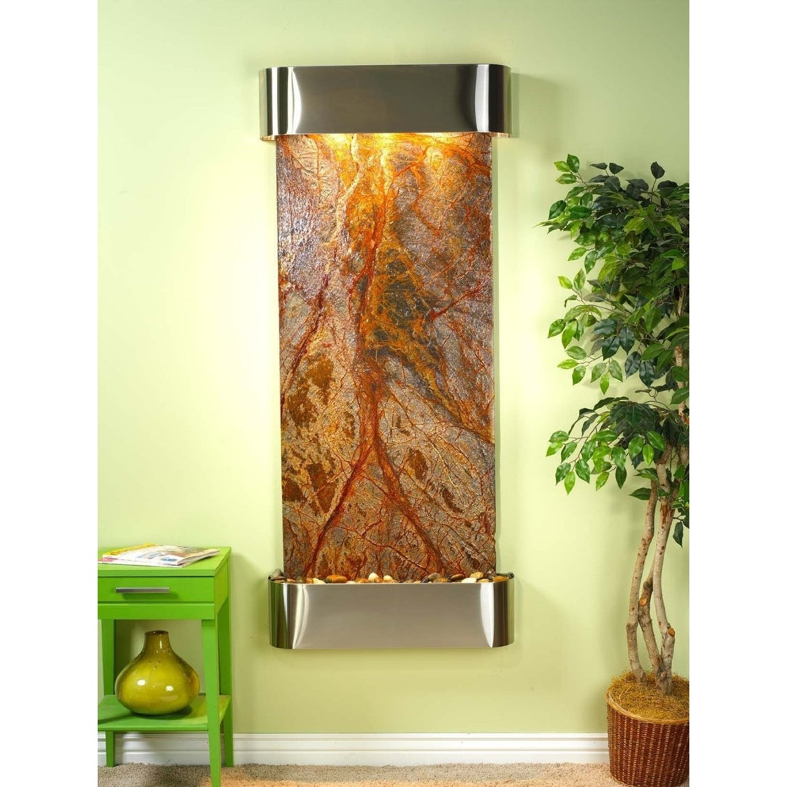 Adagio Inspiration Falls Fountain w/ Brown Rainforest Marble in Stainless Steel - Thumbnail 0
