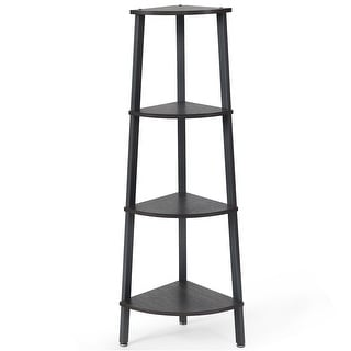 Costway 4-Tier Corner Shelf Metal Storage Rack Domestic Bookcase Display Stand Wood Grey