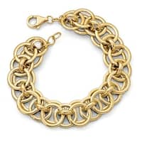 Italian 14k Gold Fancy Link Bracelet - 7.5 inches