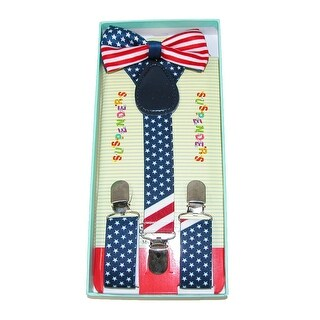 CTM® Infants' or Kids' American Flag Bow Tie and Suspender Set