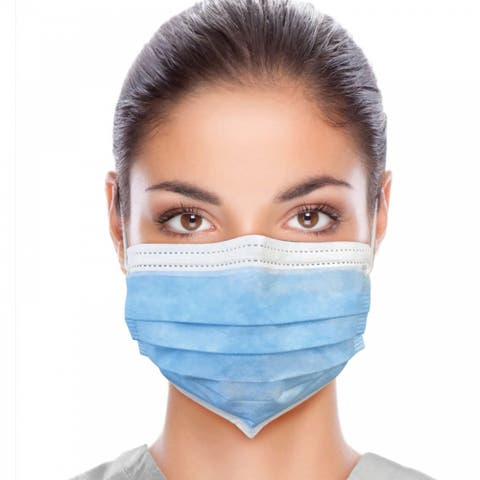 50pcs, Blue Non-Woven Disposable Single-Use Cloth Face Mask Mouth Cover (Elastic Earloop, Blue)