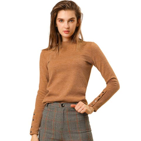 Women's Mock Neck Long Sleeve Sweater Top with Buttons Decor on Cuff Knitted - Bronze