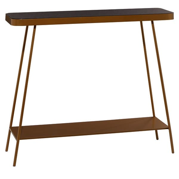 Gold Metal Console Table With Tinted Glass Top 43 5 X 34 44 X 14 X 34 On Sale Overstock 32133985